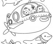 Coloriage Les Octonauts dans leur sous marin facile