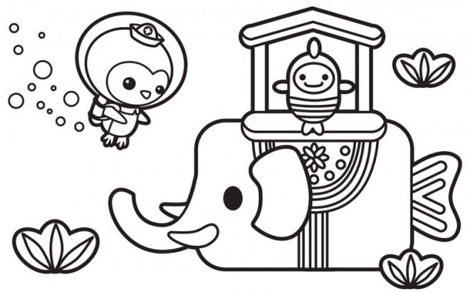 Coloriage et dessins gratuits Shellington et les poissons en ligne à imprimer