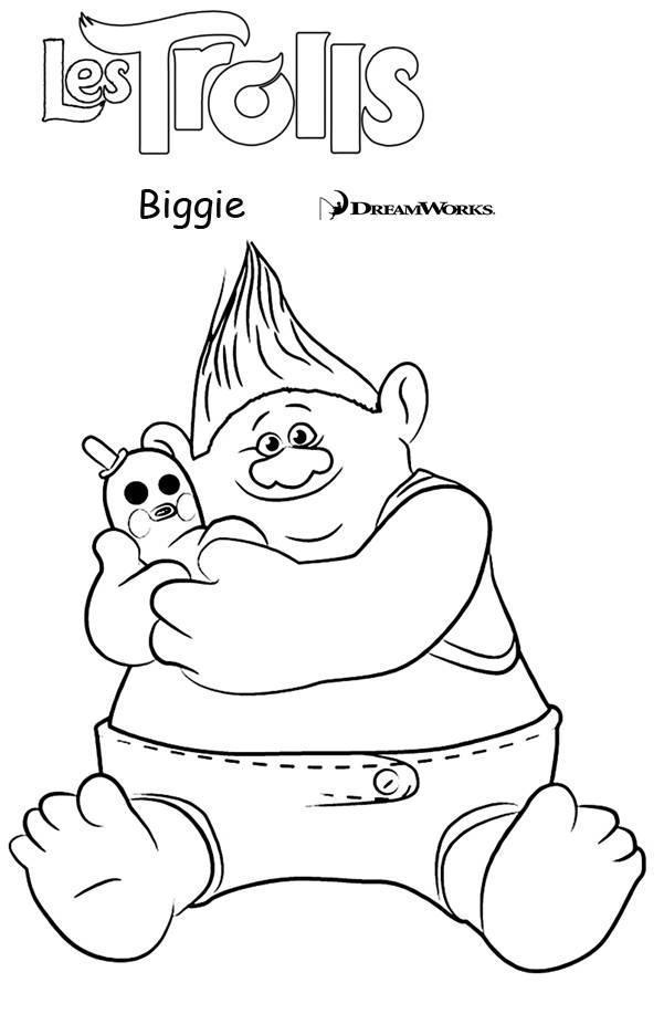 Coloriage et dessins gratuits Les trolls Biggie à imprimer