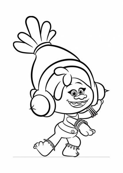 Coloriage et dessins gratuits Les trolls DJ Suki joue de la musique à imprimer