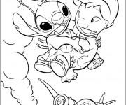 Coloriage Dessin Lilo, Stitch et l'escargot
