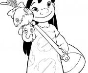 Coloriage Lilo et sa poupée