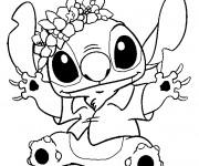 Coloriage Stitch dessin noir et blanc