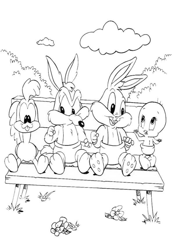 Coloriage et dessins gratuits Looney Tunes baby assis à imprimer