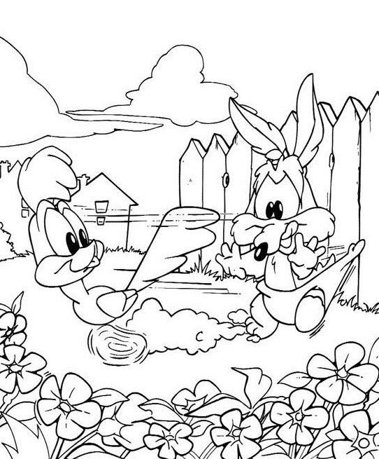 Coloriage et dessins gratuits Looney Tunes Bip Bip et Coyote à imprimer