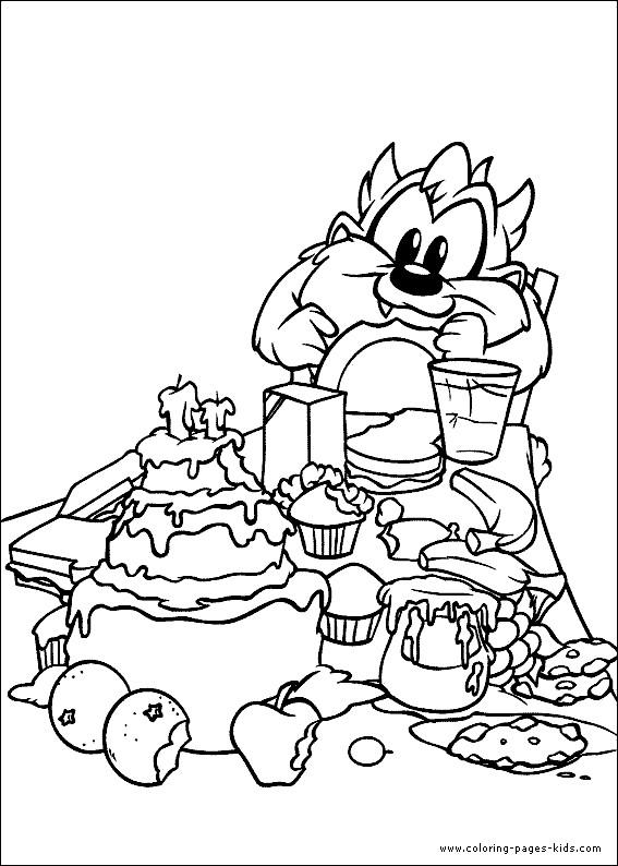 Coloriage et dessins gratuits Looney Tunes Taz entrain de manger à imprimer