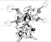 Coloriage Cowboy Lucky Luke et son Chien Sheriff