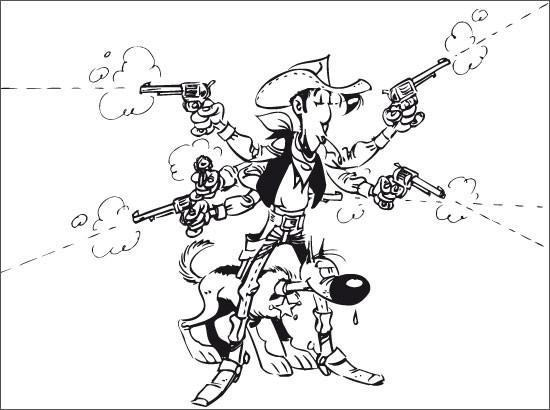 Coloriage Cowboy Lucky Luke Et Son Chien Sheriff Dessin Gratuit à