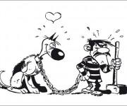 Coloriage Le chien en amour avec Jack en prison humoristique