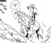 Coloriage Lucky Luke amoureux