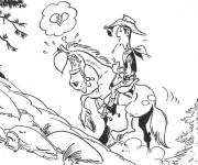 Coloriage et dessins gratuit Lucky Luke amoureux à imprimer