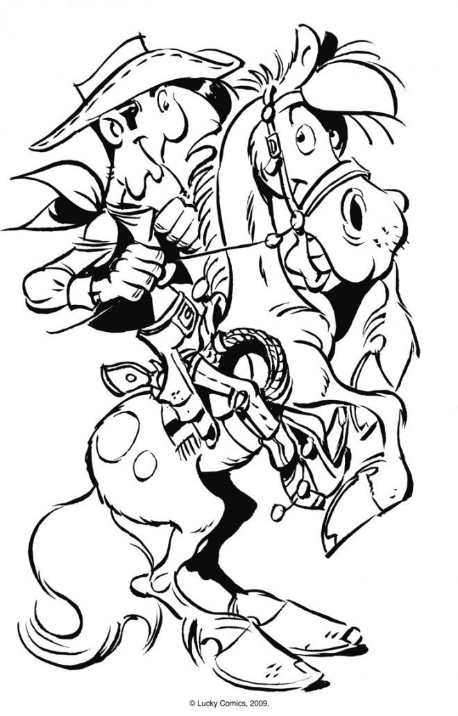 Coloriage et dessins gratuits Lucky Luke et Jolly Jumper à imprimer