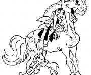 Coloriage Lucky Luke rigole avec son cheval