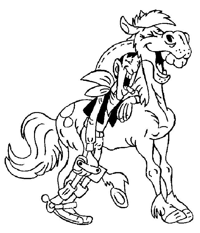 Coloriage et dessins gratuits Lucky Luke rigole avec son cheval à imprimer