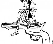 Coloriage Lucky Luke sur son Pistolet