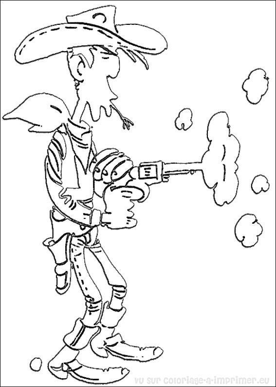 Coloriage et dessins gratuits Lucky Luke tire à imprimer