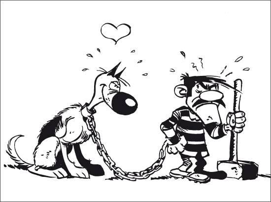 Coloriage et dessins gratuits Rantanplan et Joe en prison à imprimer