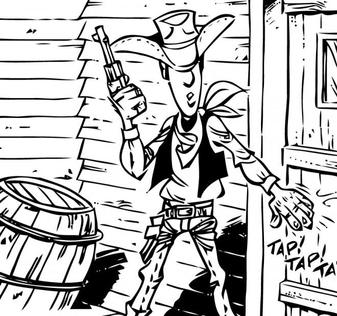Coloriage et dessins gratuits Scène de Lucky Luke à imprimer