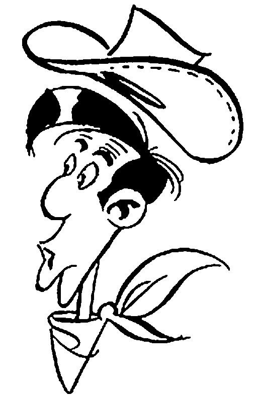 Coloriage Tête de Lucky Luke dessin gratuit à imprimer