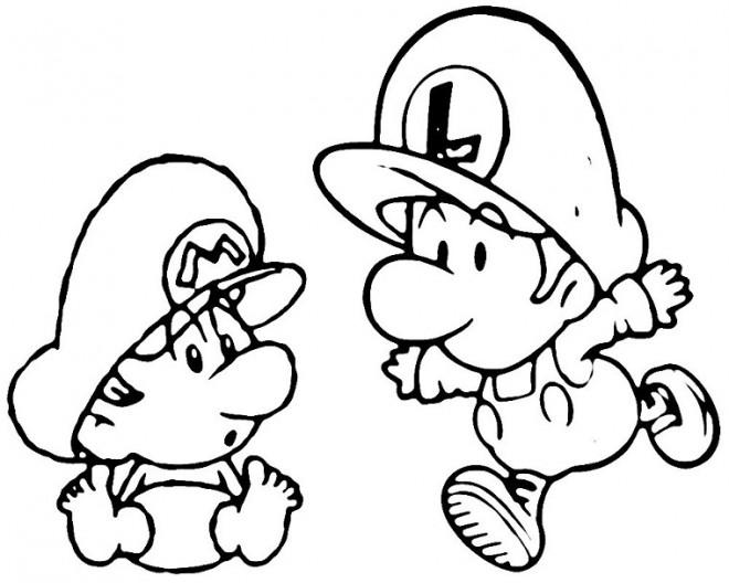 Coloriage Bebe Mario Et Bebe Luigi