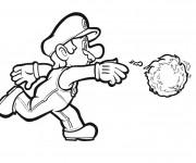 Coloriage Luigi et boule de feu