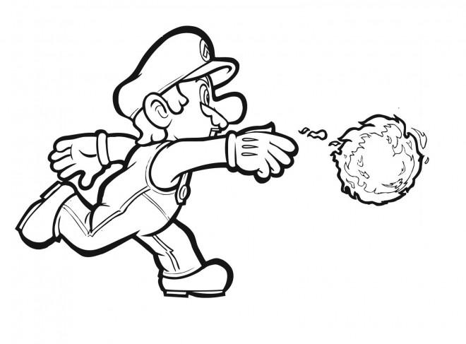 Coloriage et dessins gratuits Luigi et boule de feu à imprimer