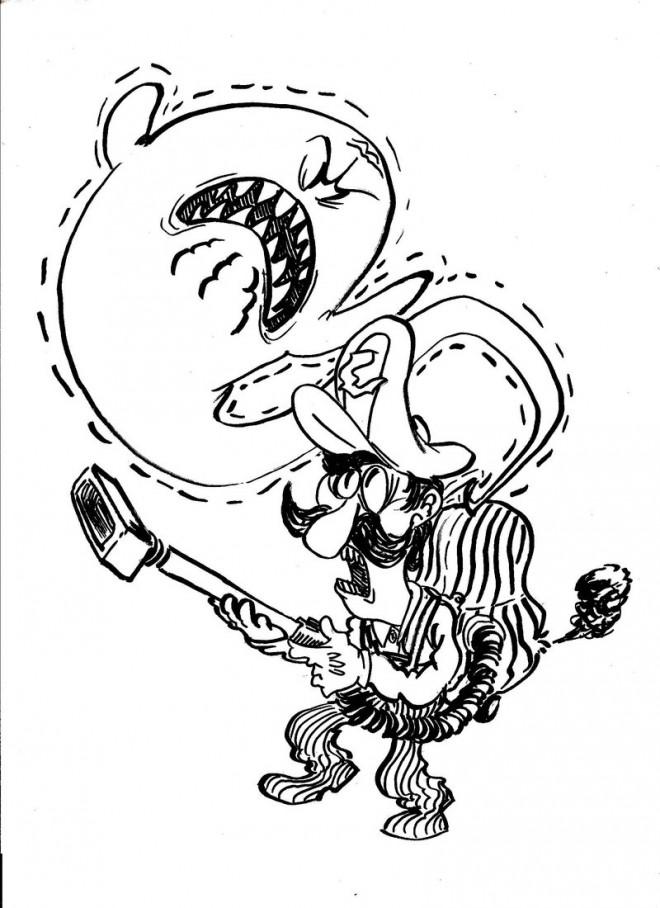 Coloriage et dessins gratuits Luigi et fantome à imprimer