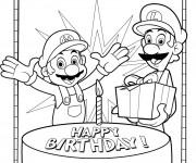 Coloriage Luigi et Mario anniversaire