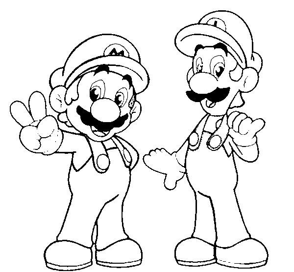 Coloriage Luigi Et Mario Facile à Colorier