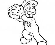 Coloriage dessin  Luigi prend la balle de feu