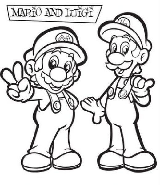 Coloriage Mario Et Luigi Dessin Gratuit à Imprimer