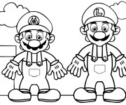 Coloriage dessin  Mario et Luigi