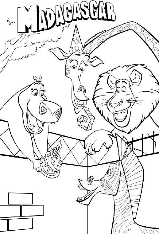 Coloriage et dessins gratuits Madagascar l'anniversaire de Marti à imprimer
