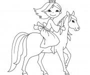 Coloriage et dessins gratuit Petite Princesse sur cheval à imprimer