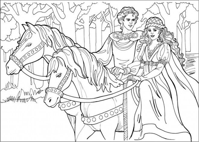Coloriage Prince Et Princesse Dessin Gratuit à Imprimer