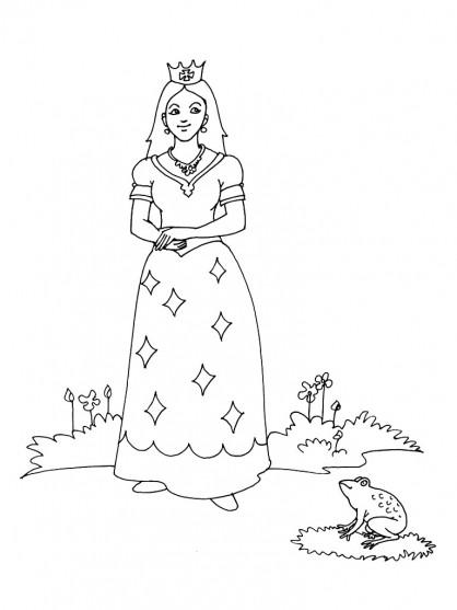 Coloriage et dessins gratuits Princesse et grenouille à imprimer