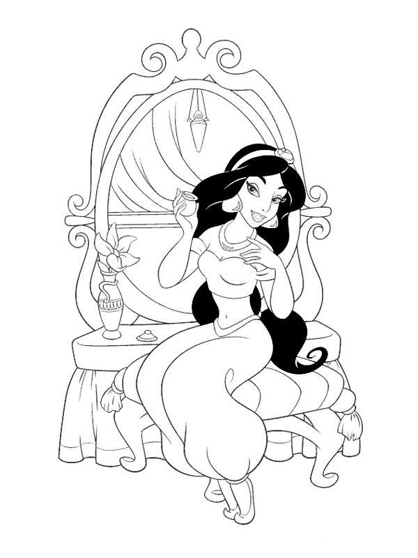 Coloriage et dessins gratuits Princesse Jasmine à imprimer