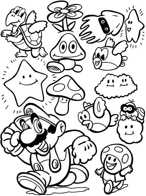 Coloriage et dessins gratuits Les personnages de Mario Bros à imprimer