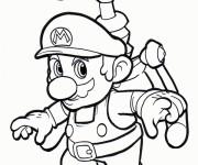 Coloriage et dessins gratuit Mario Bros en volant à imprimer