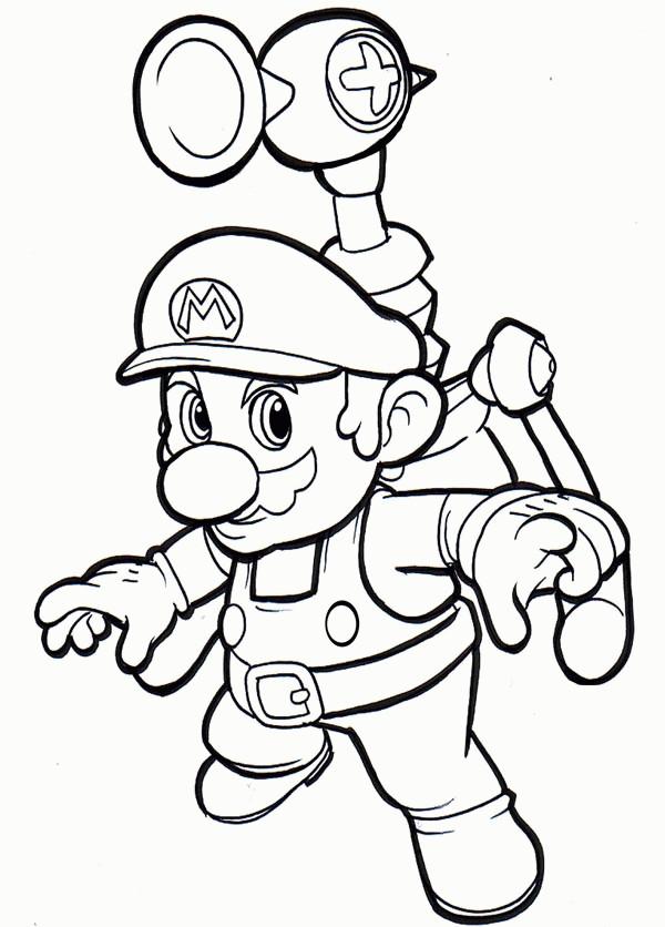 Coloriage et dessins gratuits Mario Bros en volant à imprimer