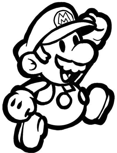 Coloriage et dessins gratuits Mario en souriant à imprimer