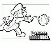 Coloriage et dessins gratuit Mario et boule de feu à imprimer