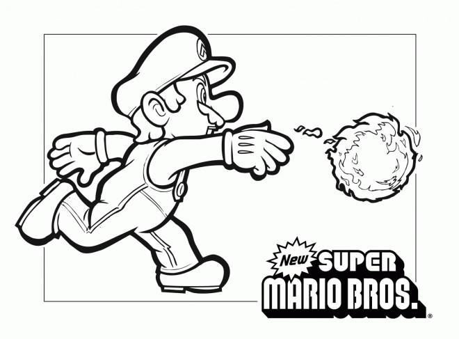 Coloriage et dessins gratuits Mario et boule de feu à imprimer