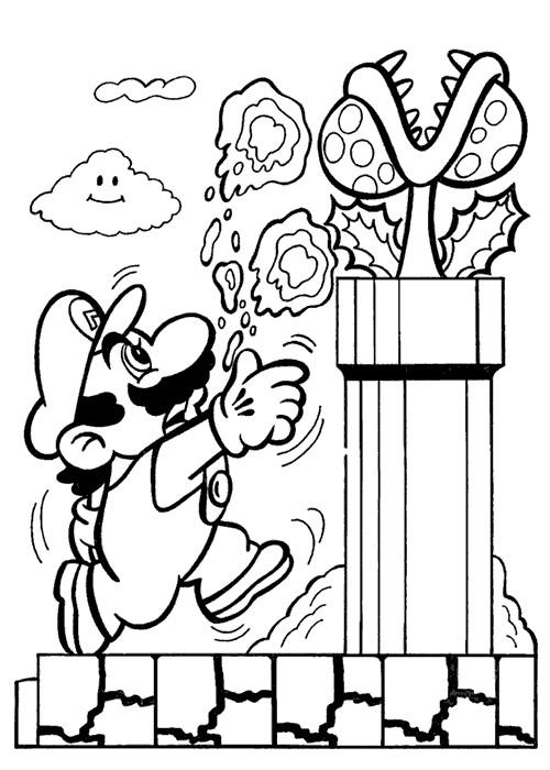 Coloriage Abeille Mario.Coloriage Mario Et Plante Carnivore Dessin Gratuit A Imprimer