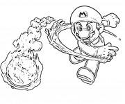 Coloriage et dessins gratuit Mario lance sa boule de feu à imprimer