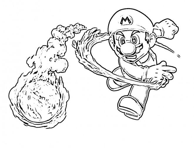 Coloriage et dessins gratuits Mario lance sa boule de feu à imprimer