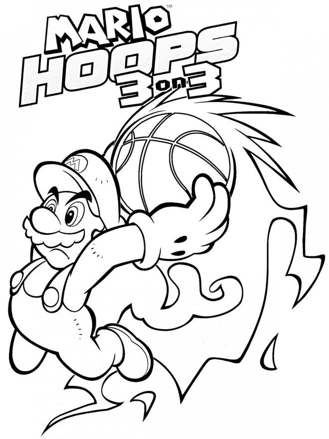 Coloriage et dessins gratuits Mario Slam Basketball à imprimer