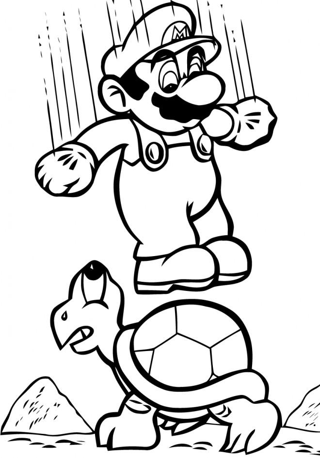 Coloriage Mario tout en sautant dessin gratuit à imprimer