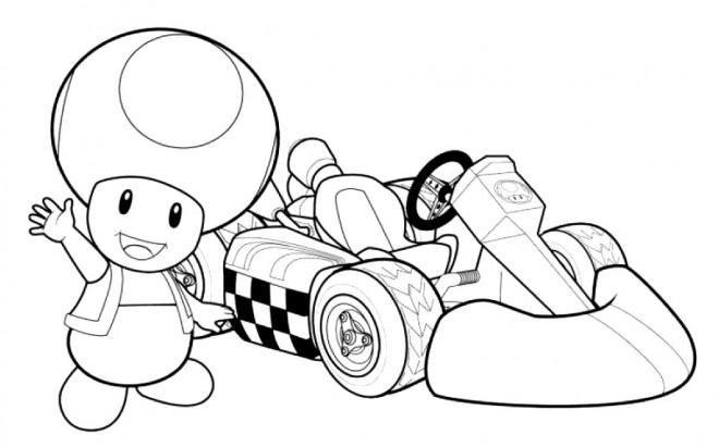 Coloriage dessin toad et voiture de course en couleur - Coloriage magique mario ...