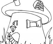 Coloriage et dessins gratuit Le ver devant sa maison à imprimer